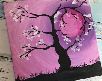 Acrylic silhouette cherry blossom tree