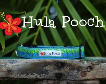 "Dog Collar ""Hawaiian Palm Trees"" -  Small, Medium, Large, Wide, Adjustable // FREE SHIPPING"