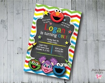 Sesame Street Birthday Invitation, Sesame Street Birthday, Sesame Street Party, Digital File, Printable File