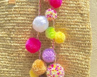 Pompoms, Bag decoration, pompom bag charm, wool pompom, coloured pompom, purse charm, bag decor, zipper charm, bag charms, evil eye, Pom Pom