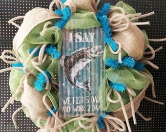 Burlap Wreath for front door, Fishing Wreath, Fall Wreath, Lake Wreath, Man Cave decor, Camping Decor, rustic wreath
