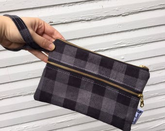Black and Gray Buffalo Plaid Wristlet