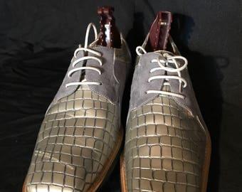 Placido - Grey-,Crocodile  & Suede mens shoe