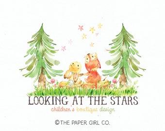 fox logo bunny logo forest logo stars logo children's logo baby shop logo boutique logo premade logo photography logo sewing shop logo