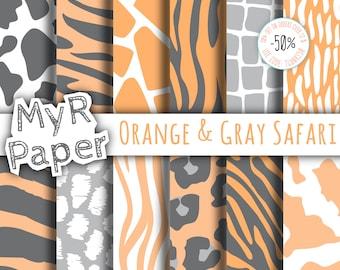 "Animal Digital Paper: ""Orange & Gray Safari"" patterns - jungle, zoo, animals, giraffe, leopard, zebra, tiger, cow. Digital scrapbooking"