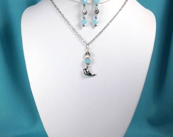 Charm Necklace Set with Matching Earrings - Chickaee and Ice Blue Beads