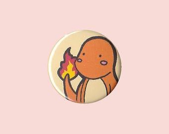 Charmander Badge - Pokemon pin, Charmander button, Charmander pin, Pokemon badge, Pokemon button, cute Charmander, kawaii Charmander