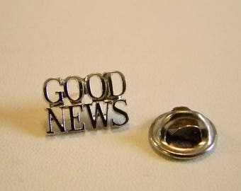 Vintage Tiffany & Co. GOOD NEWS Sterling Silver Tie Tack Lapel Pin  Pastor Christian Father's Day