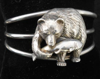 CAROL FELLEY cuff bracelet dimensional Bear and Salmon sterling silver large 3 band cuff  rare 1993 southwest signed artisan huge unisex.