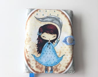 """Japanese doll fabric A5 notebook cover;  9""""x6"""" bookcover; reusable washable planner protection; women's gift"""