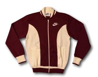 Vintage 80's NIKE Sportswear Maroon & Cream Zip Front Track Jacket Sz S