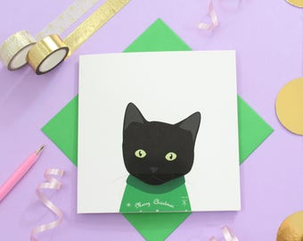 christmas black cat cards
