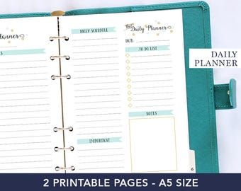 Daily planner 2018 - 2018 planner printable - Planner for mom - Planner refill 2018 - A5 daily printable agenda - Coworker gifts ideas