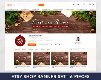 Christmas shop banner set - Christmas cover - Holiday graphics - Premade banner set - Shop graphics - Wood banner - Branding package vintage