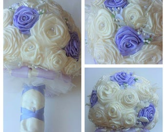 Round bouquet with flowers made entirely by hand