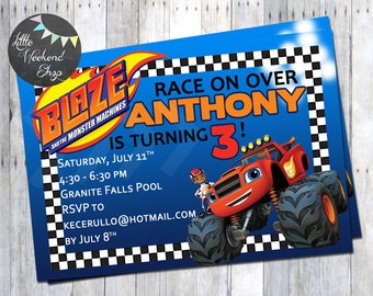 Blaze and the Monster Machines Birthday Party Theme Invitations Personalized Invites