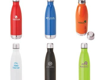 Promotional 17 oz Stainless steel water vacuum bottles, Great for Events, Mitzvah's party favors, Corporate holiday giveaways, and more!