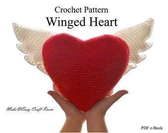 Heart with wings crochet pattern Crochet heart cushion Crochet wings Valentine crochet winged heart Moms day crochet heart Digital download