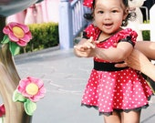 One Piece Baby and Girl's dress, Minnie Mouse birthday outfit inspired dress with a matching headband Included! Minnie Mouse dress