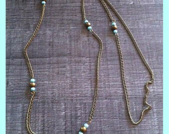 Long necklace bronze and turquoise