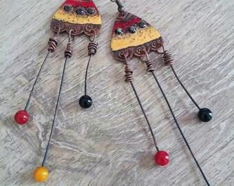 earrings, enameled, tribal, original, handcrafted