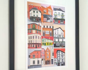 Manchester Pubs framed print of original painting