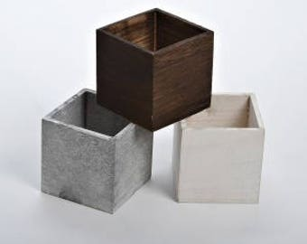 CUBE RUSTIC Wooden Plant Pots Planters Vase for Wedding Table Decorations etc