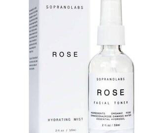 ROSE  HYDRATING MIST. Organic Hydrating Facial Toner. Soothing, Clarifying  and Balancing Rosewater. Make Up Setting Spray