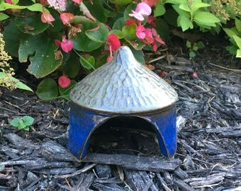 Pottery Toad Cottage, Garden Fairy Home, Toad House, lizard habitat, hand carved shingle roof