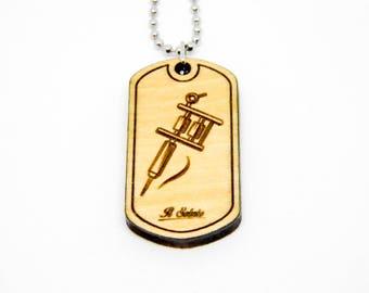 Punk rock tattoo ink TATTOO MACHINE wood DOGTAG necklace craft
