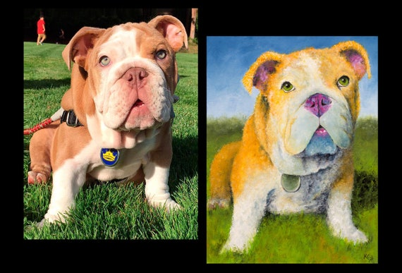 Custom Pet Painting - 18 x 24 inches or 20 x 24 inches - 1 or 2 pets