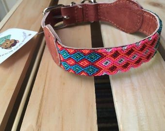 Mexican Dog Collar/ Dog Collars from Chiapas / Leather Dog Collars/ Chiapas dog collars size XS