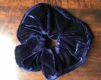 Velvet Navy Blue Scrunchie, Dark Blue Hair Tie, Big Scrunchie , Pony Tail Tie, Elastic Band, Kids Hair Tie, Bun Holder