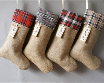 Plaid Stocking, Plaid Cuff Stocking, Personalized Stocking, Custom Stocking, Custom Plaid Stocking, christmas decor, Christmas Stocking