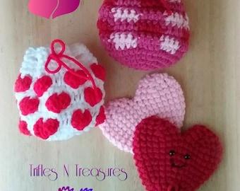 Valentine Goodie Bags Crochet Pattern~PDF Download
