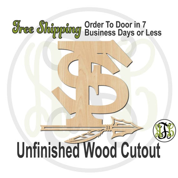 Interlocking F and S with Arrow- 60166- School Spirit Cutout, unfinished, wood cutout, wood craft, laser cut, wood cut out, Free Ship