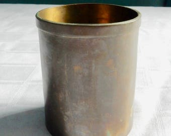 Hand Made Brass Pencil Holder - Possible World War II Trench Art from Shell Casing - Solid Brass Cylinder Signed M. L. Hand Made - Brass Jar
