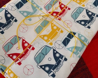 Fat Quarter Fabric, VW Vanagon Bus Print, Canvas Craft Projects, Baby Nursery Decor, Throw Pillows, Vibrant Cotton Cloth, Peace Love Happy