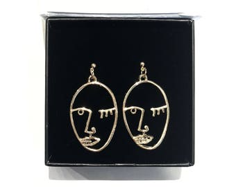 Silver Women Face Earring Dangling, 18k Gold Abstract Wink Face Hollow Open Earrings, Picasso Face Sisters Earrings, Art Face Wire Earrings