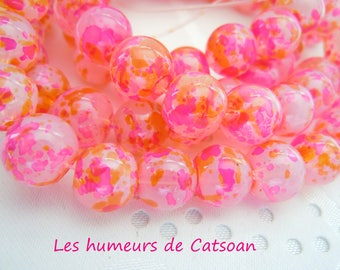 10 glass beads with pattern 2 color 10mm