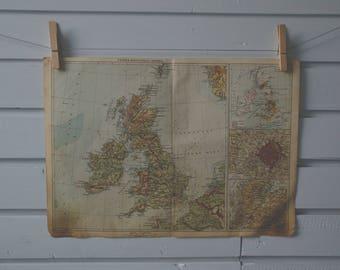 1930's Vintage Map of United Kingdom & Ireland