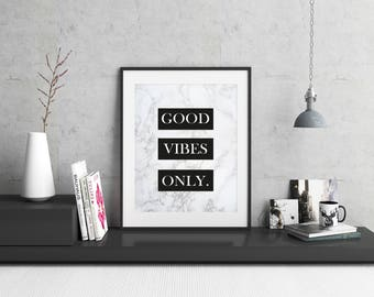 Good Vibes Only Print / Marble Print / Wall Decor / Office Decor / Typography Print