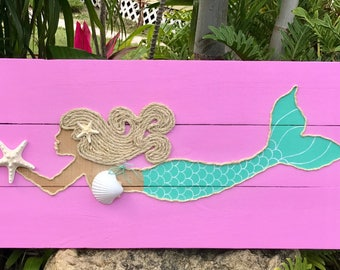 Handmade Swimming Mermaid with Rope Beach Pallet Art Mermaid Art Rope Mermaid Coastal Decor Nautical Decor Mermaid