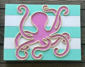 Handmade Octopus with Rope Beach Pallet Art Coastal Decor Rope Art Nautical Art Pallet Art Octopus Art
