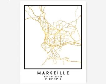 Marseille Map Coordinates Print - France City Street Map Art Poster, Gold Marseille Map Print, Marseille France Coordinates Gold Poster Map