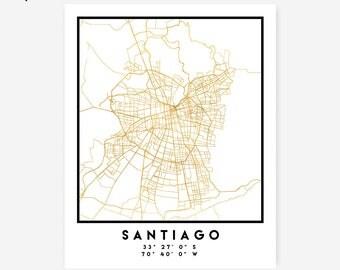 Santiago de Chile Map Coordinates Print - Chile City Street Map Art Poster, Gold Santiago Map Print, Santiago Chile Coordinates Poster Print