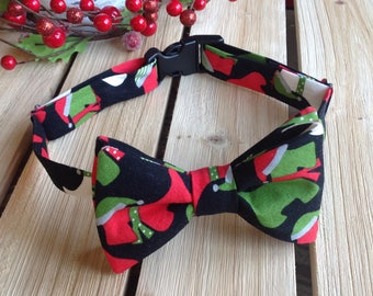 Cheerful Red and Green Christmas Santas Terrier Dog Bow Tie Medium