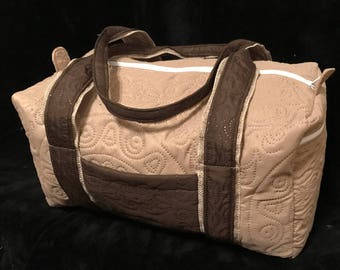 Quilted Tan Medallion 14 Inch Duffle Bag