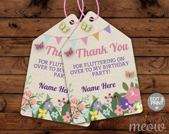 Buttefly Thank You Tags - Edit & Print - Cards Matching INSTANT DOWNLOAD Burlap Flowers Floral Birthday Garden Bunting Editable Printable