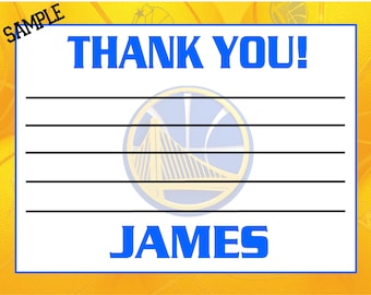Printable NBA Golden State Warriors Hockey Birthday Thank you cards Notes